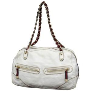 Gucci Boston Princy 233155 White Leather Shoulder Bag