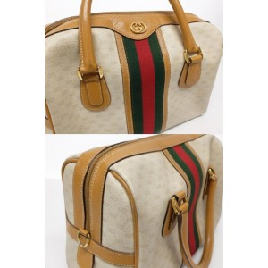 Gucci Boston Web Bandouliere with Strap Joy 239108 Brown Coated Canvas X Leather Cross Body Bag