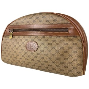 Gucci Cosmetic Case Micro Gg Mini Logo Or Pouch Monogram 17ga530 Brown Coated Canvas Clutch