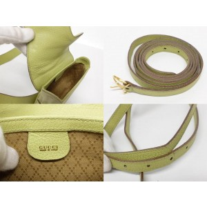 Gucci Crossbody Horsebit Belt Saddle Fanny Pack Waist Pouch 239397 Green Leather X Suede Hobo Bag