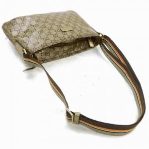 Gucci Crossbody Shoulder Gg Web 86ag Pvc 860027 Gold Crystal Monogram Canvas Messenger Bag