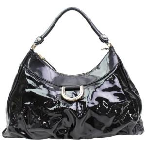 Gucci Hobo D-ring 867933 Black Patent Leather Shoulder Bag