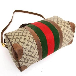 Gucci Duffle Boston Monogram Sherry Web Joy with Strap 235381 Brown Gg Canvas Weekend/Travel Bag