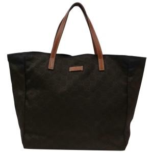 Gucci Embossed Gg Monogram Dark Shopper 870490 Brown Nylon Tote