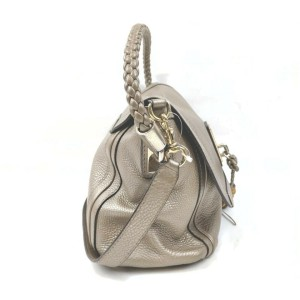 Gucci Gold Leather Braided Handle 2way Flap Bag 862761