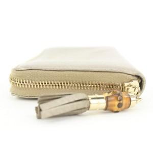 Gucci Gold Leather Bamboo Tassel Zip Around Continental Wallet Zippy 17ga113