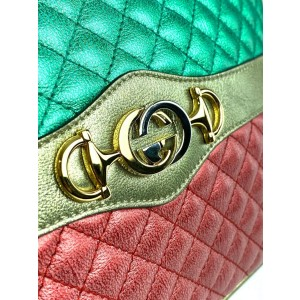 Gucci Green x Red x Gold Laminated Calfskin Quilted Small Trapuntata 26g00
