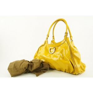 Gucci Yellow Patent Leather Abbey Tote D Ring Hobo Bag 702gks319