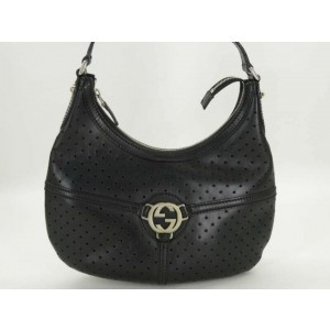 Gucci Hobo Perforated Reins 871859 Black Leather Shoulder Bag