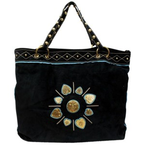 Gucci Irina Studded Crest Heart 872774 Black Suede Tote