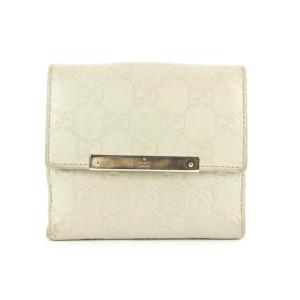 Gucci Ivory Guccissima Leather Compact Wallet 169ggs25