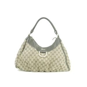 Gucci Large D Ring Monogram 9gk0107 Brown Gg Canvas Hobo Bag