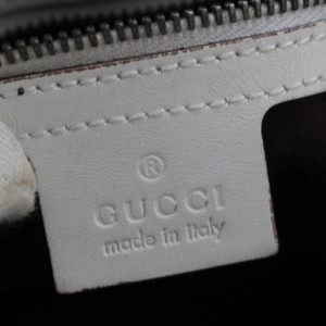 Gucci Large Monogram Gg Belt Buckle 868903 White Canvas Tote