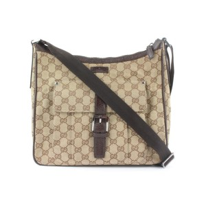 Gucci Brown Monogram GG Crossbody Bag 689gks318