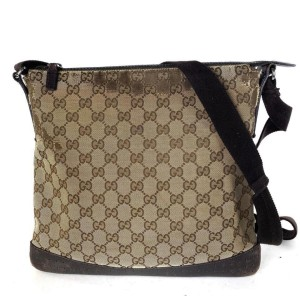Gucci Brown Monogram GG Perforated Messenger 2g859