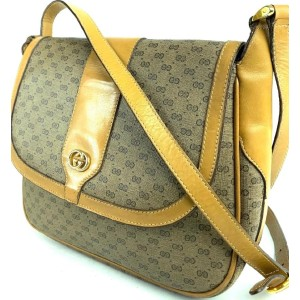 Gucci Micro Gg Monogram Flap 1g610 Brown Coated Canvas Cross Body Bag
