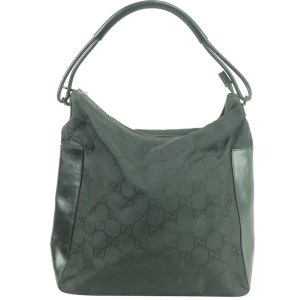 Gucci Monogram 13gk0103 Black Gg Canvas Hobo Bag