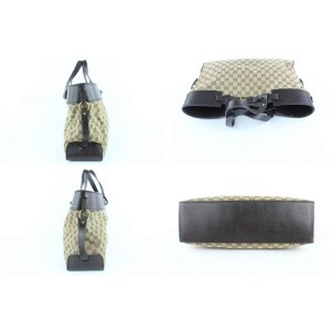 Gucci Monogram Gg Belt Buckle 229081 Brown Canvas Tote