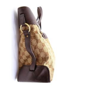 Gucci Monogram Belt Buckle 232318 Brown Gg Canvas Tote