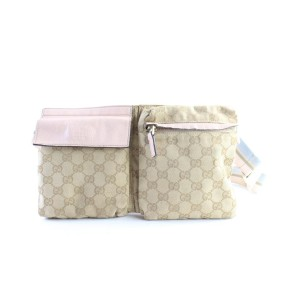 Gucci Monogram Gg Belt Pouch Fanny Pack 228285 Brown Coated Canvas Cross Body Bag