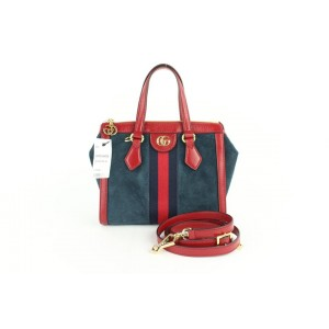 Gucci Navy Red Sherry Small Ophidia House Web Satchel 2way 2gz0129 Blue Suede Leather Cross Body Bag