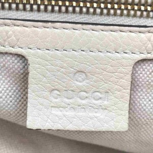 Gucci Pebbled Calfskin Bamboo Shopper with Strap Off-white 860107 White Leather Satchel