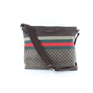 Gucci Sherry Diamante Monogram Web 16gz1129 Brown Nylon Messenger Bag