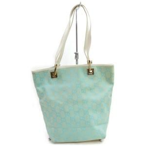 Gucci Shoulder Bag Bucket Monogram 872392 Light Blue Gg Canvas Tote