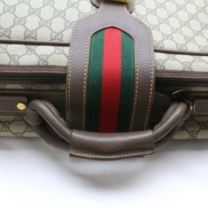Gucci Soft Trunk Web Suitcase Luggage 872945 Light Brown Gg Supreme Canvas Weekend/Travel Bag