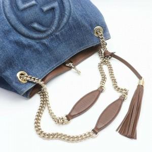 Gucci Soho 872266 Dark Navy Chain Tote Fringe Tassel Blue Denim Shoulder Bag