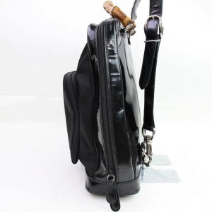 Gucci Black Patent Bamboo Backpack 855925
