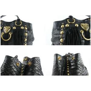 Gucci Suede Fringe Large Babouska Tote 5gz0911 Black Python Skin Leather Shoulder Bag