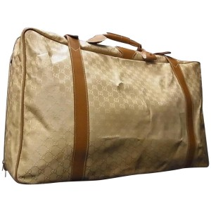 Gucci Suitcase Luggage Monogram 239391 Beige X Brown Gg Canvas Leather Weekend/Travel Bag