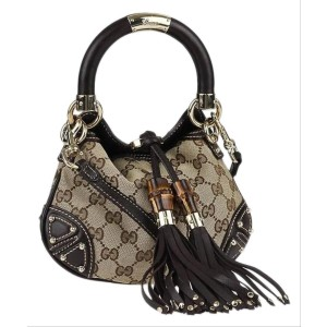 Gucci Top Handle Indy Gg Mini Babouska 1ga515 Brown Canvas Hobo Bag