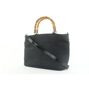 Gucci Black Bamboo 2way Tote Bag with Strap 272gks512