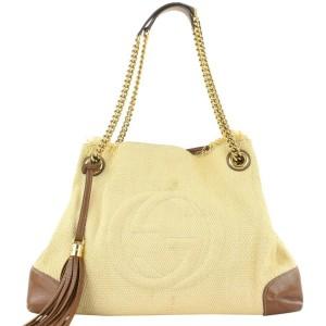 Gucci Beige Fringe Tassel Cream Raffia Soho Chain Tote Bag 228gas211