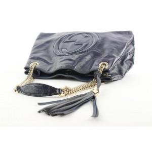 Gucci Fringe Tassel Blue Patent Leather Soho Chain Tote Bag 192gas29