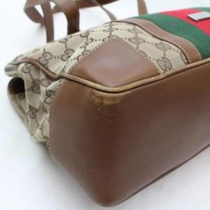 Gucci (Ultra Rare) Sherry Monogram Web Zip Tote 868472 Brown Canvas Shoulder Bag