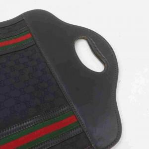 Gucci Web Monogram Handbag Tote 860043 Black Gg Canvas Baguette