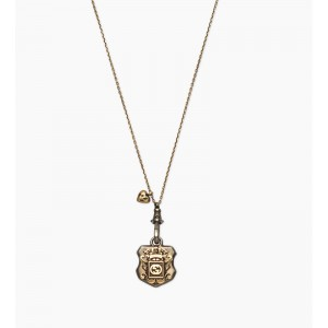 Gucci Sterling Silver With Gold Finish Crest Pendant Necklace