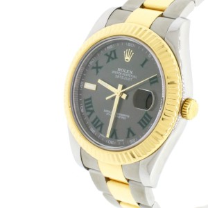 Rolex Datejust II 41MM 2-tone Yellow Gold/Steel Watch Grey Dial With Green Roman Numerals, Box&Papers 116333