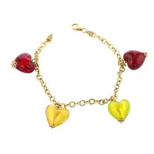 Milros 14k Heart Motif Glass Bead Charm Bracelet