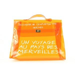 Hermes Clear Translucent Orange Souvenir De L'Exposition Kelly Bag 337her224