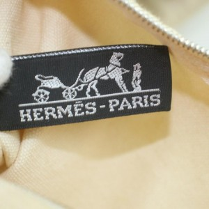 Hermes Brown x Cream Lindy de Plage Tote Bag with Pouch 863092