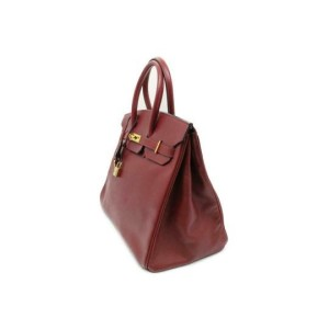 Hermès Birkin Dark Rouge Courchevel Rouge 35 870369 Red Leather Satchel