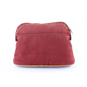 Hermès Bolide Pouch 3hj0111 Red Canvas Clutch