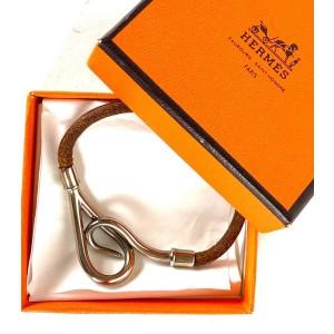 Hermes Jumbo Hook Bracelet Silver Brown scuff Bangle 21herm64