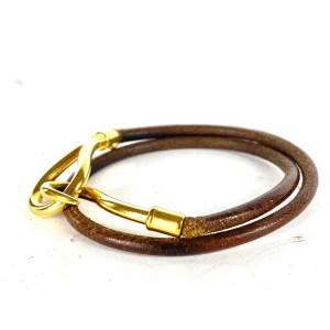 Hermès Jumbo Hook Bracelet Double Wrap Cuff Bangle Brown Gold 6herm64