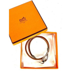 Hermès Jumbo Hook Silver Brown Wrap Double Bracelet Cuff Bangle 20her64