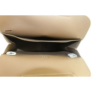Hermès Etoupe Clemence Leather Hazlan 25 Crossbody 2way Bag 529her0